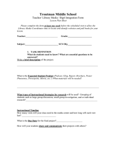 Troutman Middle School Teacher/ Library Media / Big6 Integration Form