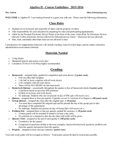 Algebra II - Course Guidelines   2015-2016 Class Rules