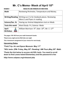Mr. C's Memo- Week of April 18