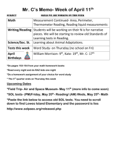 Mr. C's Memo- Week of April 11