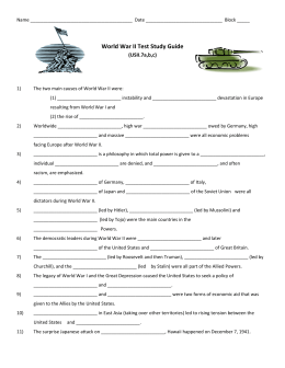 World War II Test Study Guide (USII.7a,b,c)