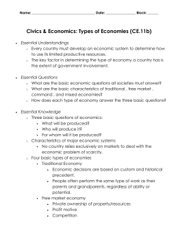 Civics & Economics: Types of Economies (CE.11b)