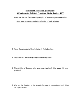 Significant Historical Documents Fundamental Political Principles Study Guide - KEY &