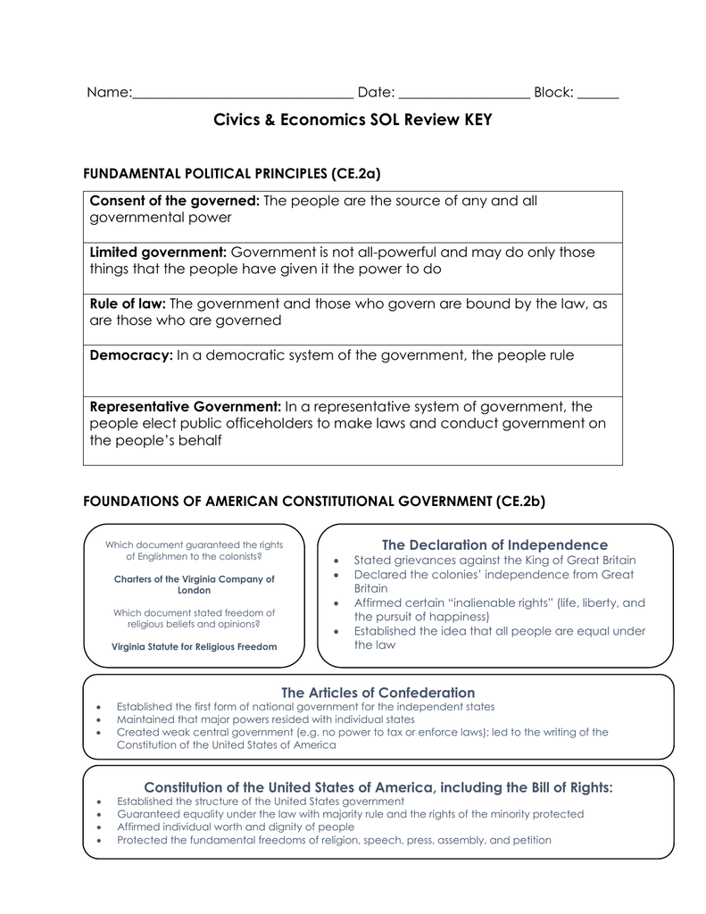 Civics Economics Sol Review Key