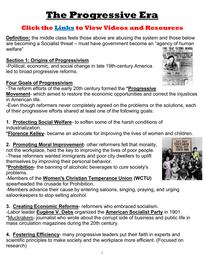 the progressive era click the to view videos and resources links