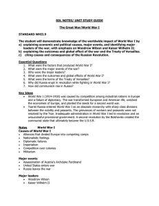 SOL NOTES/ UNIT STUDY GUIDE  The Great War/World War I STANDARD WHII.9