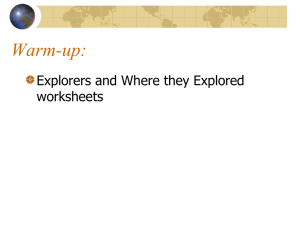 Warm-up: Explorers and Where they Explored worksheets
