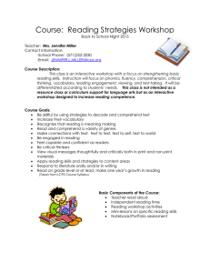 Course:  Reading Strategies Workshop