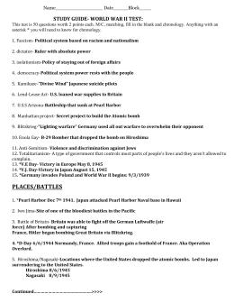 Study guide world war ii test: