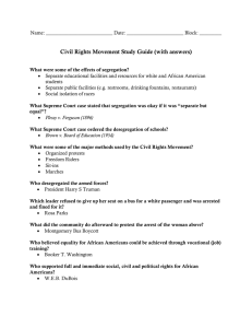 Civil Rights Movement Study Guide (with answers)