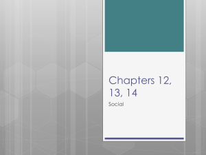 Chapters 12, 13, 14 Social