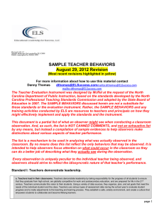 SAMPLE TEACHER BEHAVIORS August 29, 2012 Revision