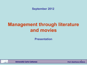 Management through literature and movies September 2012 Presentation