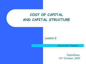 COST OF CAPITAL AND CAPITAL STRUCTURE Lesson 6 Corporate Finance