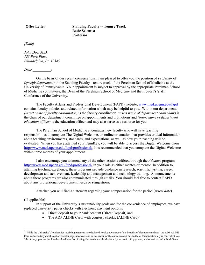 offer letter standing faculty