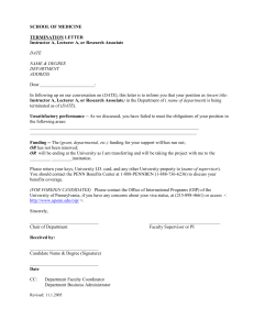 SCHOOL OF MEDICINE  TERMINATION LETTER Instructor A, Lecturer A, or Research Associate