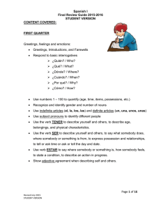 Spanish I Final Review Guide 2015-2016 STUDENT VERSION CONTENT COVERED: