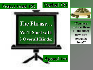 The Phrase… We'll Start with 3 Overall Kinds: Verbal (3)