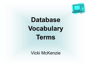 Database Vocabulary Terms Vicki McKenzie