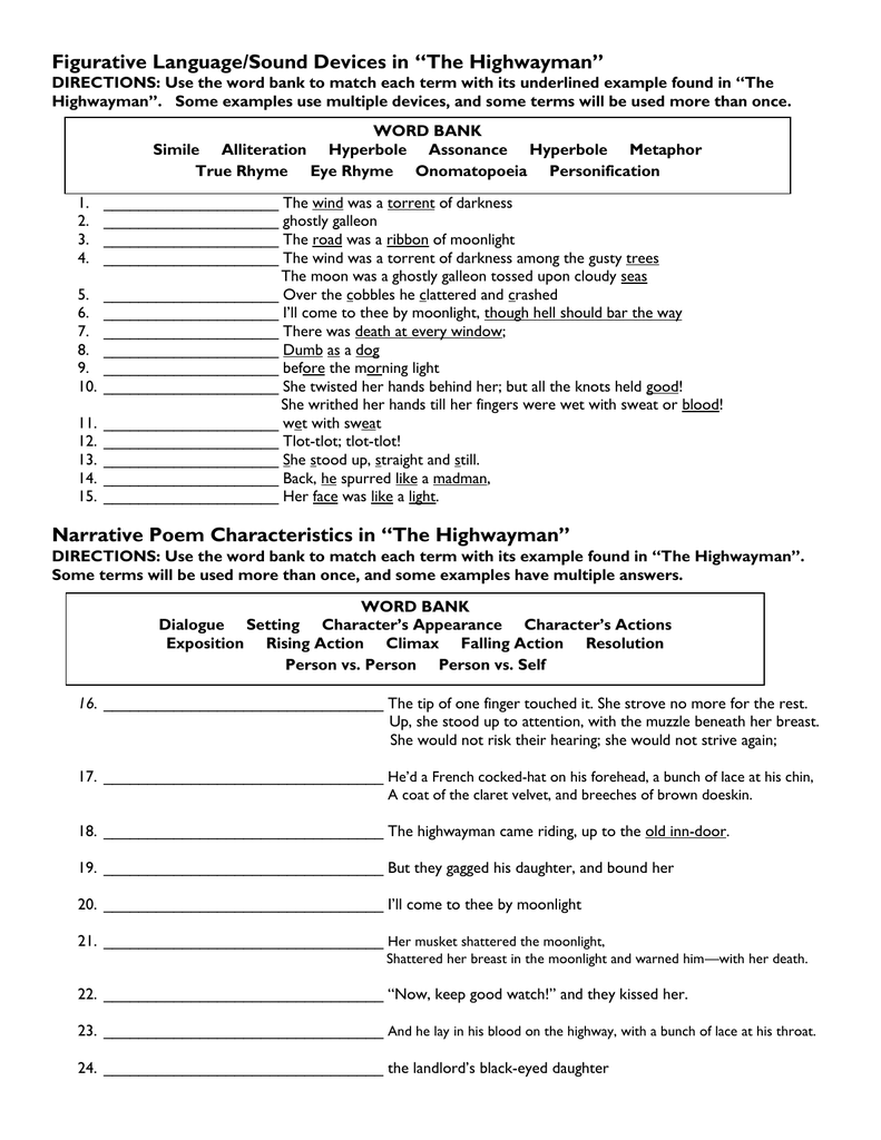worksheet The Highwayman Worksheet figurative languagesound devices in