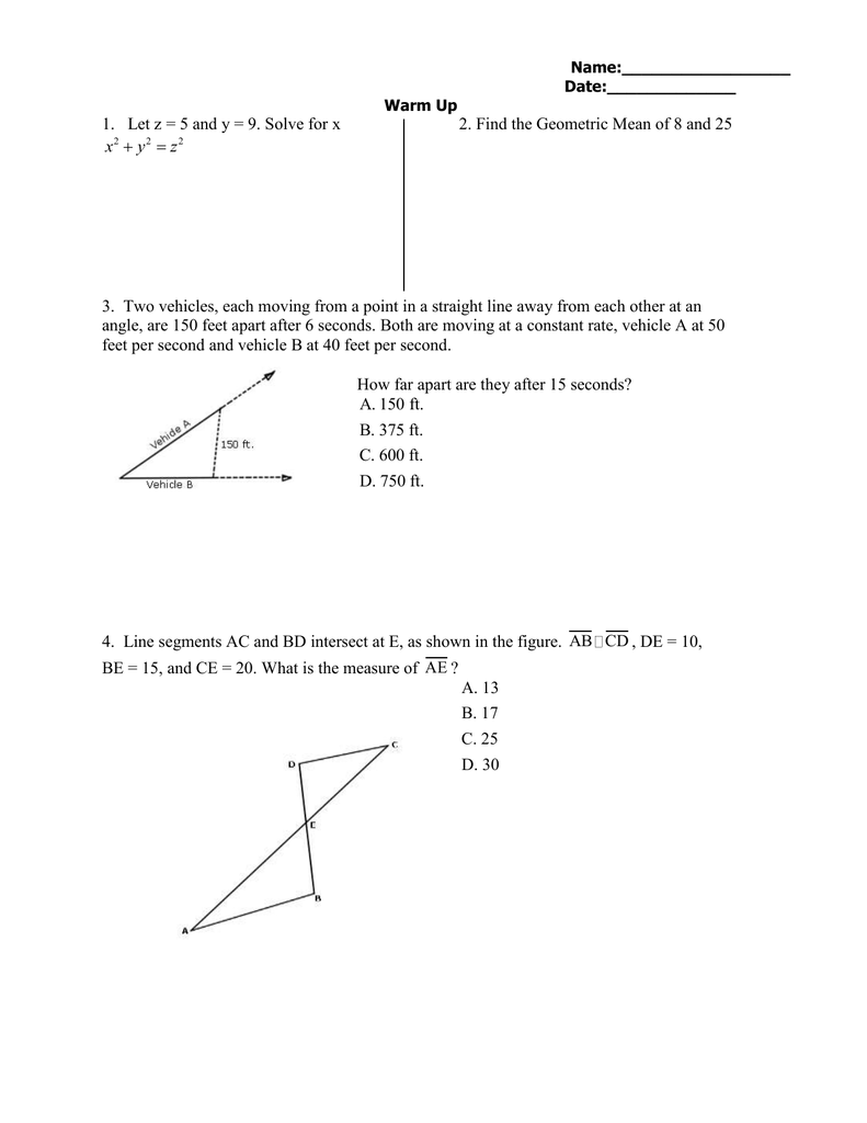1. Let z = 5 and y =... 2. Find the Geometric Mean of 8 and 25