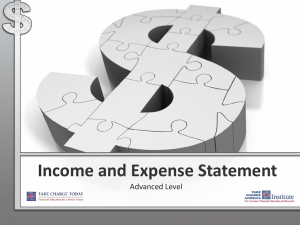 Income and Expense Statement Advanced Level