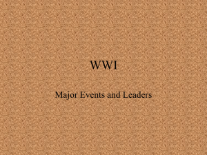 WWI Major Events and Leaders