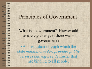 Principles of Government What is a government?  How would government?