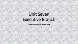 Unit Seven Executive Branch Governmental Bureaucracy