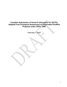 Canadian Submission of Annex E Information for SCCPs;