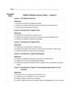 CheckOff Digital Lifestyles Course Topics – Lesson 5 Date