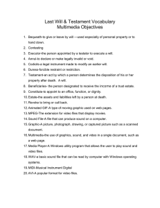 Last Will & Testament Vocabulary Multimedia Objectives
