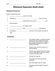 Westward Expansion Study Guide  Westward Movement