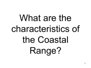What are the characteristics of the Coastal Range?