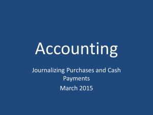 Accounting Journalizing Purchases and Cash Payments March 2015