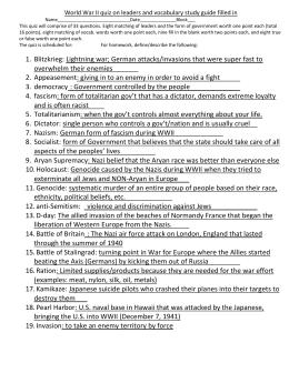 World war ii test study guide (usii. 7a,b,c).