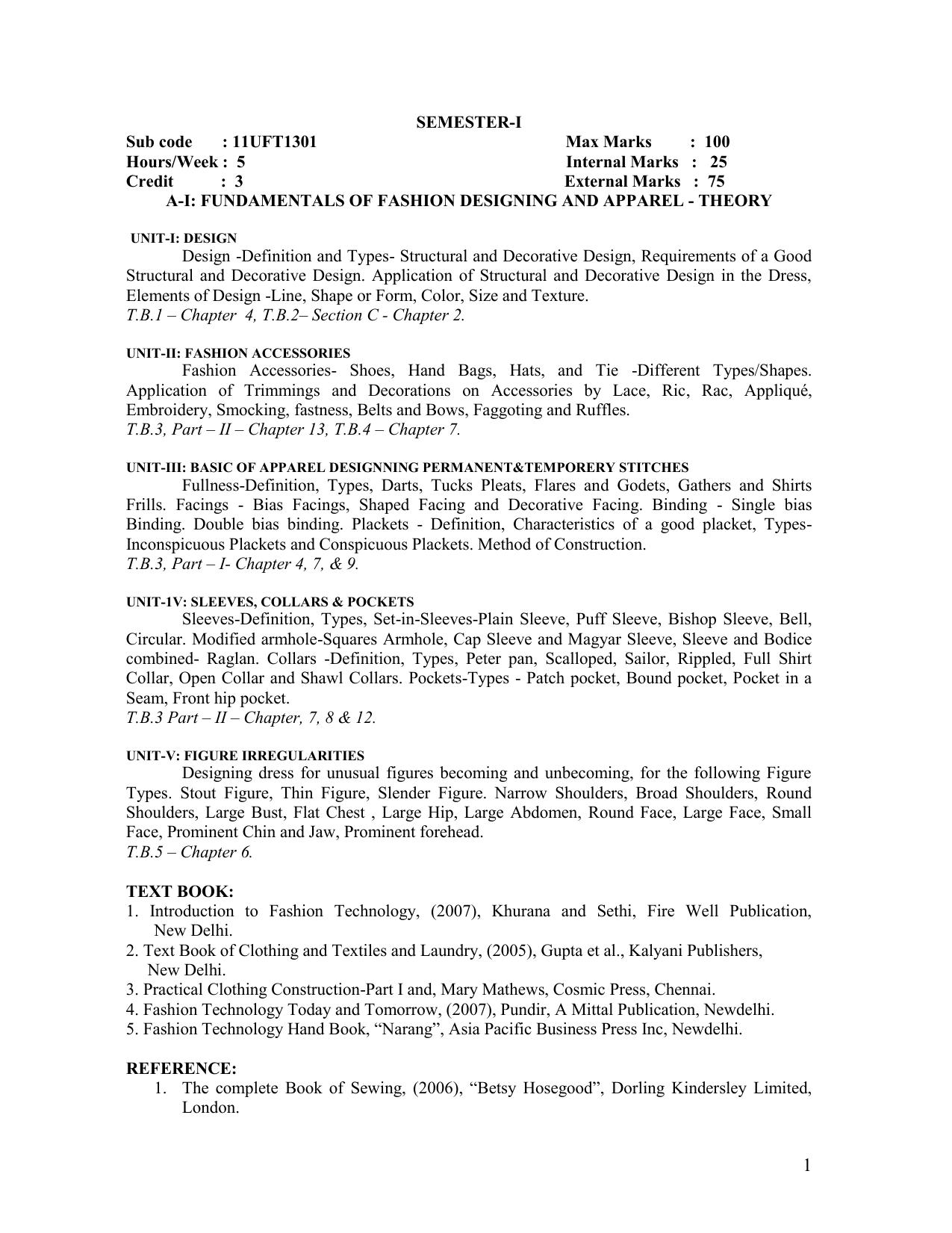 Semester I Sub Code 11uft1301