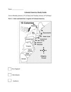 Colonial America Study Guide Name ______________________  New England