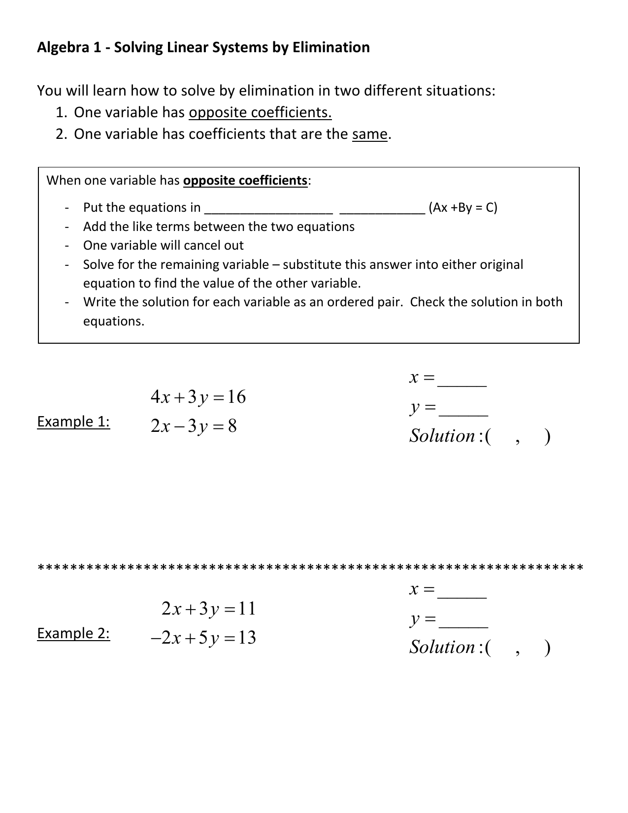 Algebra 1 Solving Linear Systems By Elimination