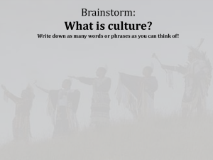 What is culture? Brainstorm: