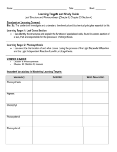 Learning Targets and Study Guide Standards of Learning Covered: Bio. 2d: