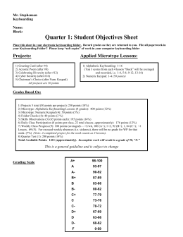 Quarter 1: Student Objectives Sheet Mr. Stephenson Keyboarding