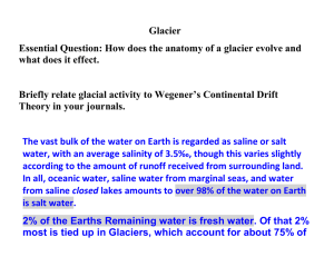 Glacier Essential Question: How does the anatomy of a glacier evolve... what does it effect.