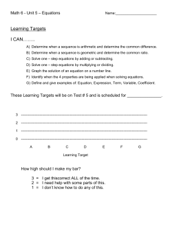 Learning Targets …….. I CAN