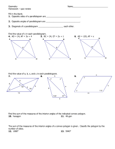 Geometry  Name_______________________________ Homework – quiz review