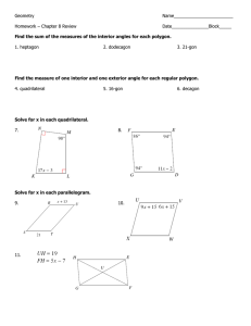 Geometry  Name________________________ Homework – Chapter 8 Review