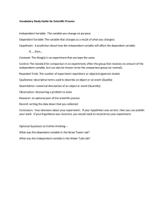 Vocabulary Study Guide for Scientific Process