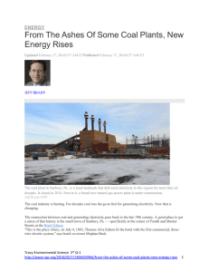 From The Ashes Of Some Coal Plants, New Energy Rises ENERGY