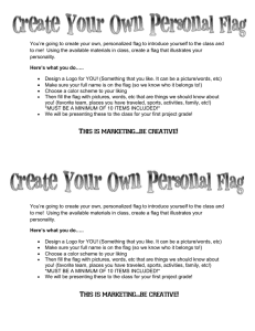 You're going to create your own, personalized flag to introduce... to me!  Using the available materials in class, create...