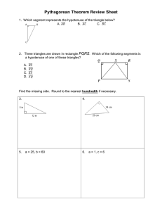 Pythagorean Theorem Review Sheet